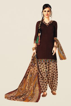 Salwar Studio Brown & Off White Printed Dress Material