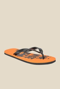 Wega Life Grunge Black & Orange Flip Flops