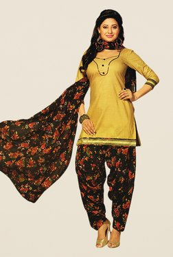 Salwar Studio Beige & Brown Floral Print Dress Material