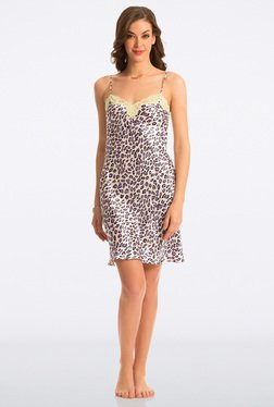 Pretty Secrets Cream Animal Print All Day Lounge Chemise - Mp000000000353017