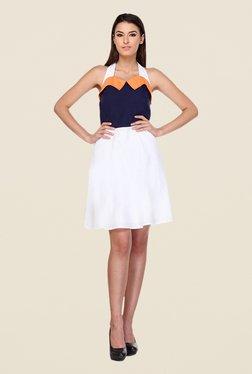 Kaaryah White & Navy Halter Neck Dress