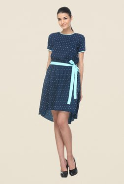 Kaaryah Navy Printed Asymmetrical Dress