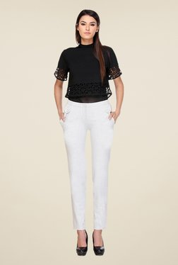 Kaaryah White Straight Fit Trousers