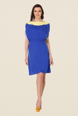 Kaaryah Blue Short Sleeve Solid Dress