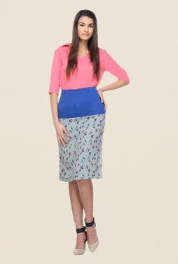Kaaryah Grey & Blue Printed A Line Skirt