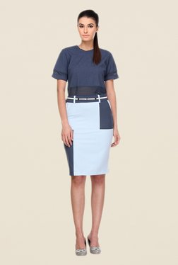 Kaaryah Blue Solid Pencil Skirt