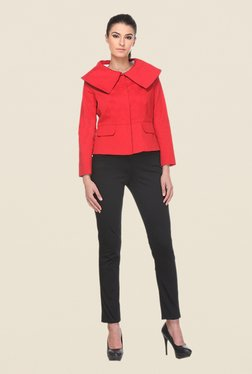 Kaaryah Red Solid Full Sleeves Jacket