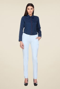 Kaaryah Light Blue Skinny Fit Trousers