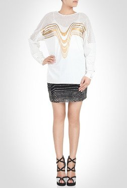 Amit Agarwal Mesh Yoke White Top By Kimaya