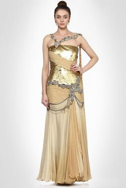 Elisha Wadhwani Designer Wear Golden Dress By Kimaya
