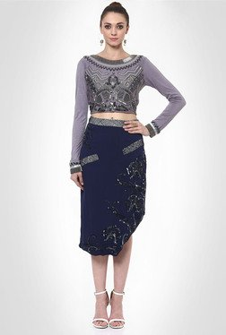 Mihika Harnal Designer Wear Navy Asymmetric Skirt By Kimaya