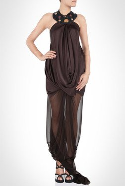 James Farera Designer Wear Cowl Draped Brown Dress By Kimaya