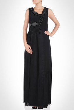 Amit Agarwal Designer Wear Black Maxi Dress By Kimaya