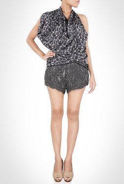 James Farera Designer Wear Black Printed Top By Kimaya