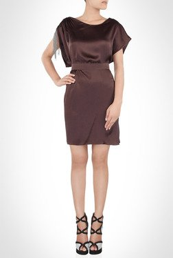 Amit Agarwal Designer Wear Satin Brown Short Dress By Kimaya