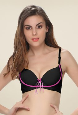 Clovia Black Push Up Bra With Detachable Straps
