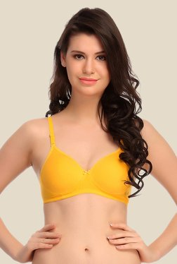 Clovia Yellow Padded T Shirt Bra With Detachable Straps
