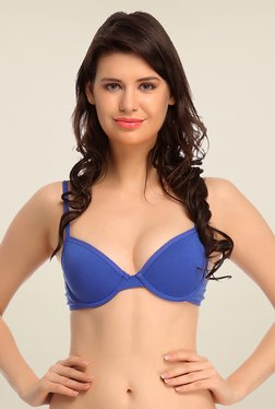 Clovia Blue Push Up Bra With Padded Demi Cups