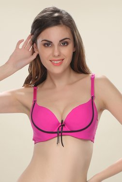 Clovia Pink Push Up Bra With Detachable Straps