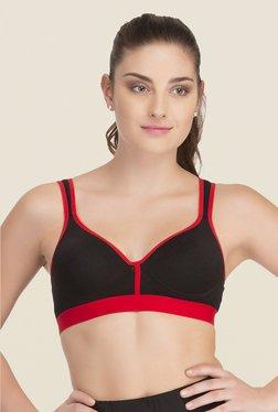 Clovia Black & Red Broad Elastic Padded Sports Bra