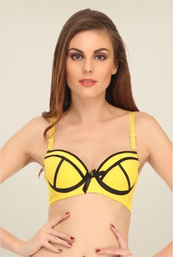Clovia Yellow Push Up Bra With Contrast Trims