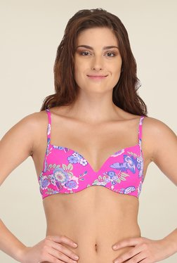 Clovia Pink Push Up Bra With Back Detachable Straps