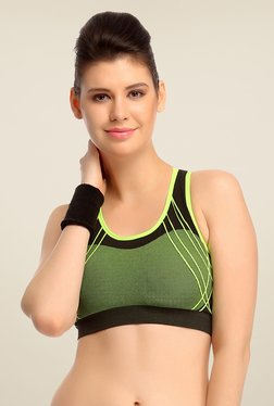 Clovia Lime & Black Comfy Padded Sports Bra