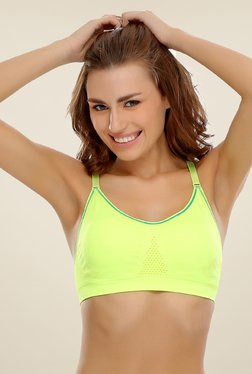 Clovia Lime Yellow Seamless Padded Racer Back Sports Bra