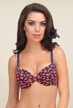 Clovia Navy & Orange Push Up Bra With Detachable Straps