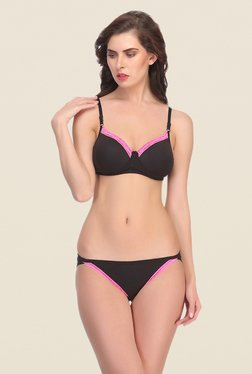 Clovia Black Wirefree Padded Bra & Panty Set