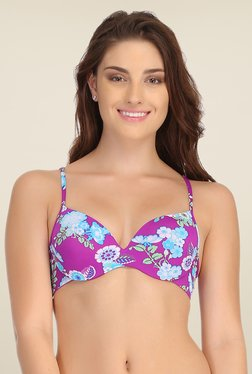 Clovia Purple Push Up Bra With Back Detachable Straps