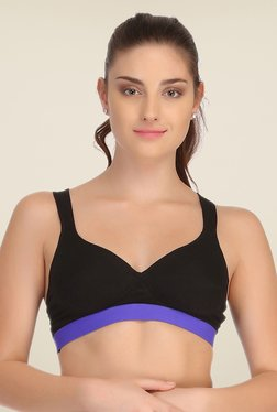 Clovia Black & Blue Broad Elastic Padded Sports Bra