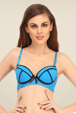 Clovia Light Blue Push Up Bra With Contrast Designs