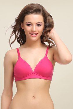 Clovia Pink Padded T Shirt Bra With Detachable Straps - Mp000000000360493