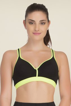 Clovia Black & Green Broad Elastic Padded Sports Bra
