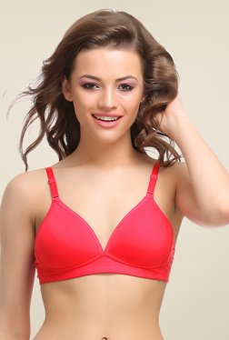 Clovia Red Padded T Shirt Bra With Detachable Straps