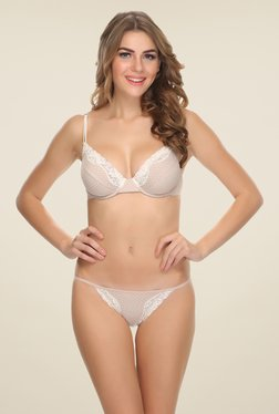 Clovia Beige Polka Dot Under Wired Padded Bra & Panty Set