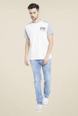 Globus White Round Neck T Cotton Shirt