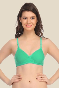 Clovia Green Padded T Shirt Bra With Detachable Straps