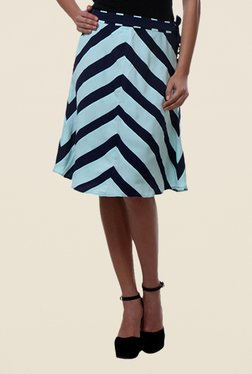 Kaaryah Navy & White Striped A Line Skirt