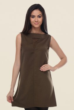 Kaaryah Olive Sleeveless Dress - Mp000000000362191