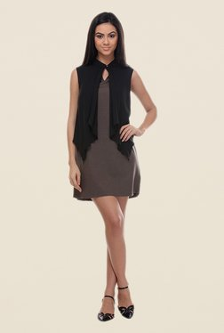 Kaaryah Brown & Black Sleeveless Dress