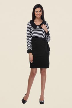 Kaaryah Black & White Striped Dress
