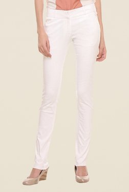 Kaaryah Off White Solid Trouser