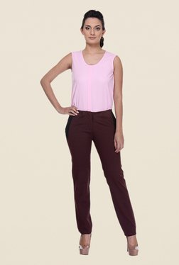 Kaaryah Wine Solid Trouser