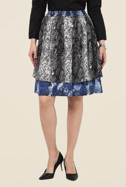 Kaaryah Grey Double Layer Snake Print Skirt