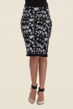 Kaaryah Black Printed Pencil Skirt