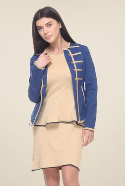 Kaaryah Blue Full Sleeves Cotton Silk Jacket