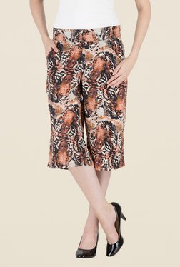 Kaaryah Brown Tiger Printed Straight Waist Divided Skirt