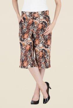 Kaaryah Brown Tiger Printed Straight Waist Divided Skirt